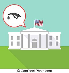 The White House with  a gas hose icon