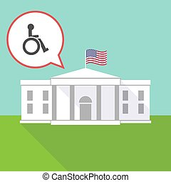 The White House with  a human figure in a wheelchair icon
