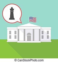 The White House with a  king   chess figure