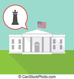 The White House with a  queen   chess figure