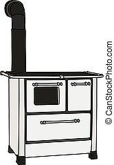 The white kitchen stove