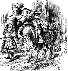 The White Knight Falls off His Horse - Through the Looking Glass and what Alice Found There original book engraving. She walked on in silence, puzzling over the idea, and every now and then stopping to help the poor Knight, who certainly was not a good rider.