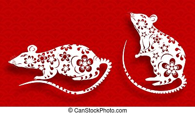 The white metal rat is a symbol of the Chinese New Year 2020. Decorated with patterns and flowers on a red background with a shadow. illustration
