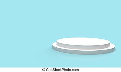 white Podium platform on blue background 3d rendering.