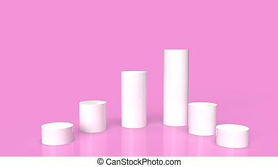 white Podium platform on pink background 3d rendering.