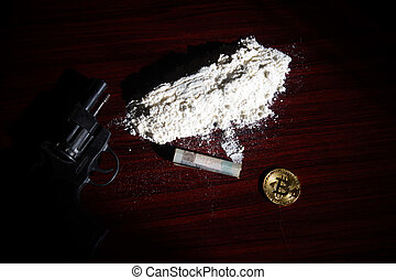 The white powder with a gun and money