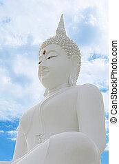 White Seated Buddha Image in Attitude of Subduing Mara