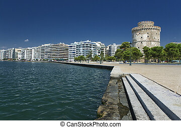 The white tower at Thessaloniki in Greece - The white tower...