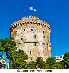 The White tower in Thessaloniki - The White tower with Greek...