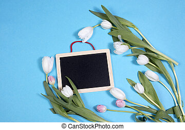 White tulips on blue background as a card