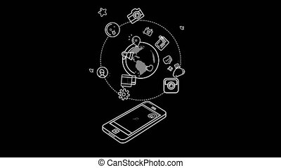 The Whole World In A Smartphone. With Alpha Channel