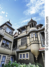 The Winchester Mystery House - the house number 525 on...