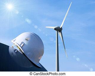 the wind turbine and the helmet