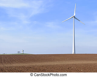 the wind turbine and the water tower