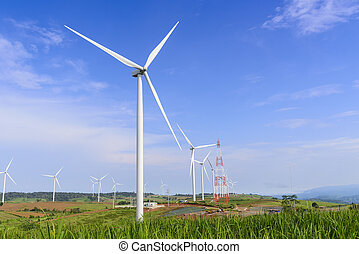 The wind turbine farm on the top of mountain with the sky and cloud