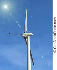 the wind turbine on blue sky