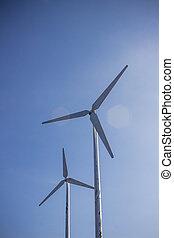 The wind turbine on sky