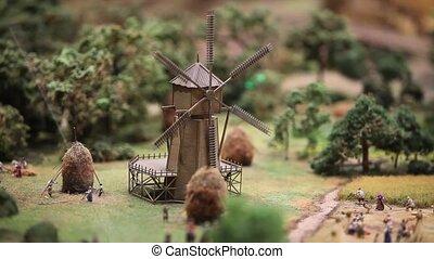 The windmill rotates