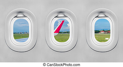 The window of airplane