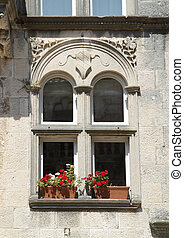 The window of the old house in Korcula