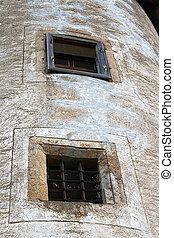 The windows in the tower of the castle