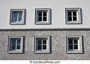 The windows of a residential building