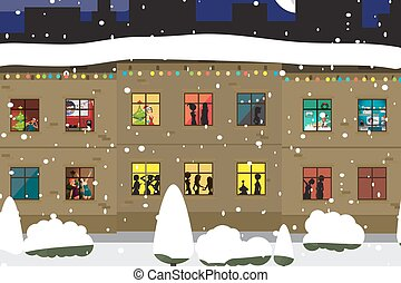 The windows of an apartment house in the evening of Christmas or New Year. People celebrate and make merry. Flat cartoon vector illustration