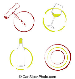 The wineglass, bottle of wine and corkscrew