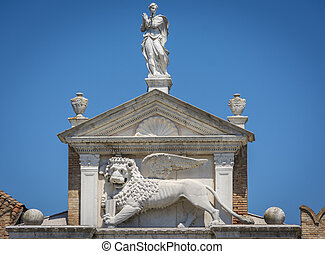 The winged lion of St. Mark in Venice, Italy.