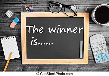 The winner is.... text