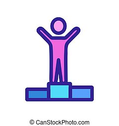 The winner on the pedestal is an icon vector. Isolated contour symbol illustration