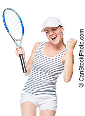 The winning female tennis player is happy on a white background