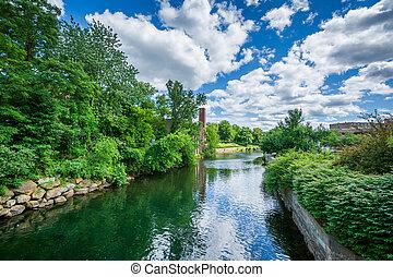 The Winnipesaukee River, in Laconia, New Hampshire.
