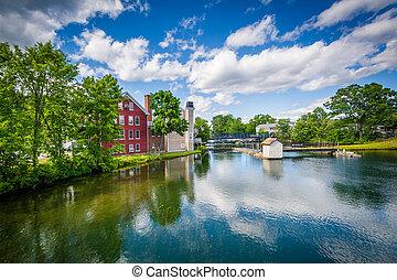 The Winnipesaukee River, in Lakeport, Laconia, New Hampshire...