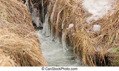 The Winter Creek Water - The winter ice water stream creek...