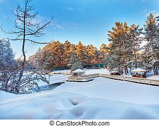The winter park in Chelyabinsk. Russia