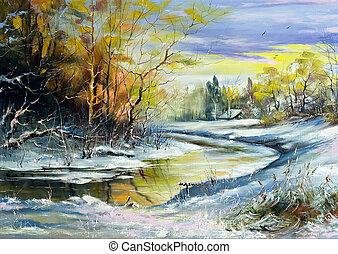 The winter river in village