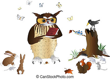 The wise owl - Wise owl and other animals