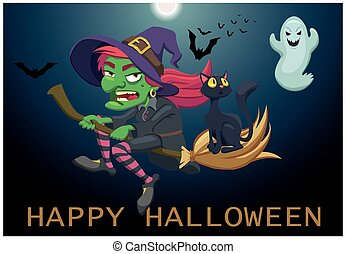 the witch flies on her broom. postcard a happy halloween