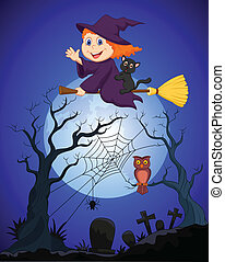 The witch flying on a broom on a fu - vector illustration of...