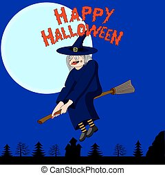 The witch flying on a broomstick. Halloween character