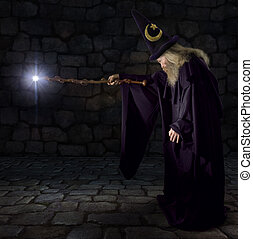 Wizard in a purple robe and wizard hat casting a spell with his wand