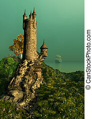 The Wizards Tower - on a hill with a flower meadow stands ...