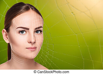 The woman face  with arrows over green background as web