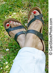 woman feet with red nails on grass background