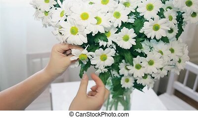 The woman guessing on the Daisy tearing off petals