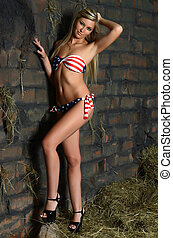 The woman in bikini on hay at a wall