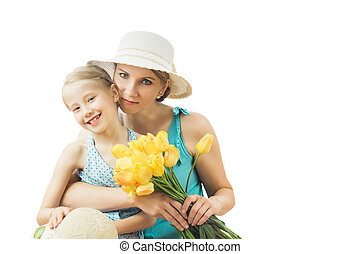 The woman in the blue dress with her daughter isolated on a white background.
