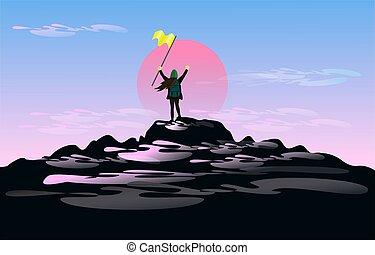 The woman in the hand holds the flag standing on mountain top of him with great joy. With a sunset and a cloud in the background