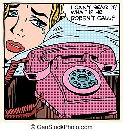 The woman is crying and waiting for a call